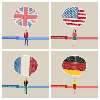 여행 또는 학습 언어 세트의 개념입니다. 손으로 그린 깃발이 있는 연설 거품. 영어, 미국, 독일, 프랑스어