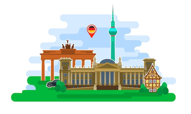독일 여행이나 독일어 공부의 개념. 랜드마크가 있는 독일 국기입니다. 평면 디자인, 벡터 일러스트 레이 션