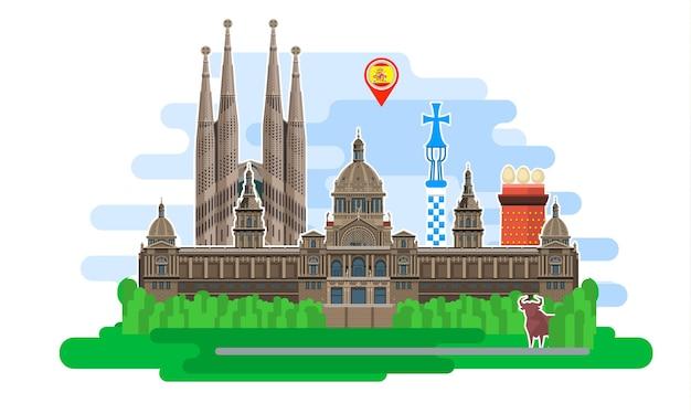 スペインへの旅行またはスペイン語の勉強の概念。ランドマークとスペインの旗