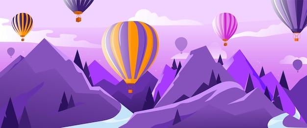 Концепция путешествий и приключений. многие воздушные шары в воздухе, летящие над горами летом. спокойствие и умиротворение. красочные баллоны и облако в небе. мультфильм