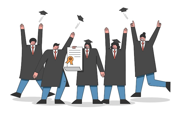 大学のコースと卒業の概念。学生はアカデミートレーニングの終了を祝います。