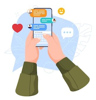 Концепция использования смартфона в чате с друзьями иллюстрации