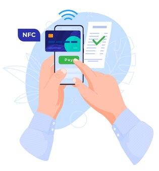 Концепция использования смартфона в руках nfc оплата покупок иллюстрации
