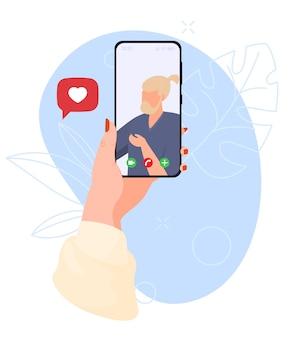 Концепция использования смартфона-телефона в руках иллюстрации видеозвонка