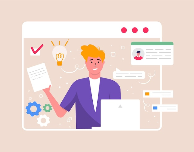 화상 회의 및 온라인 회의 작업 공간의 개념입니다. 비즈니스 사람들이 복용, 전략 계획, 보고서, 전단지, 마케팅, 전단지, 광고, 브로셔, 현대적인 스타일 벡터와 디자인 템플릿.