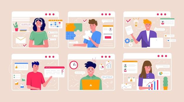 ビデオ会議とオンライン会議ワークスペースの概念。レポート、チラシ、マーケティング、リーフレット、広告、パンフレット、モダンなスタイルのベクトルのために同僚と一緒に取っているビジネスマンとのデザインテンプレート