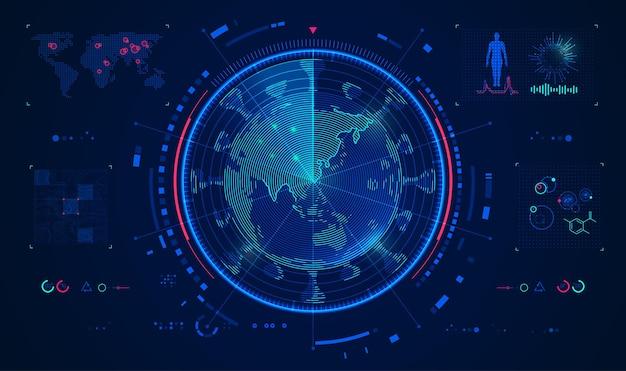 ウイルススキャン技術または世界の医療分析の概念、ウイルスと未来的な要素を組み合わせたレーダースキャングローブのグラフィック