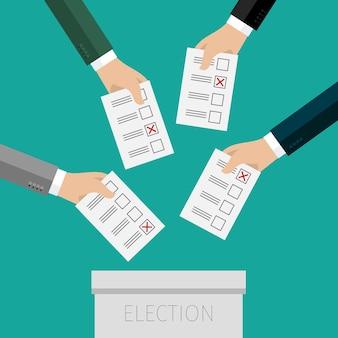 투표의 개념. 투표함에 투표 용지를 넣어 손. 평면 디자인, 일러스트레이션.