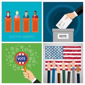 投票の概念。 2016年米国大統領選挙。フラットデザイン、ベクトルイラスト