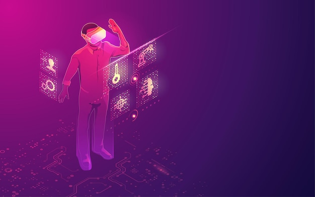 Концепция технологии vr, гарнитура виртуальной реальности с интерфейсом цифровой голограммы