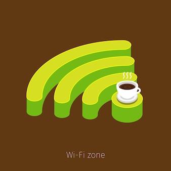 Wifiゾーンの概念。 wifiのシンボルの上に立っているコーヒーのカップ。フラットなデザイン。