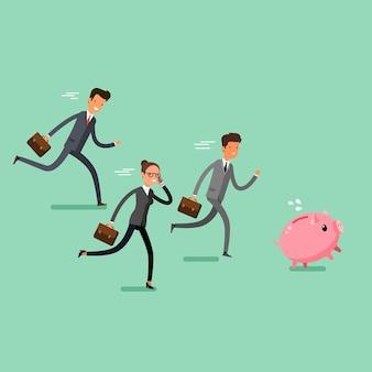 勝利のコンセプト。漫画のビジネスマンは貯金箱をキャッチします。チームリーダーの競争。フラットなデザイン、ベクトルイラスト。