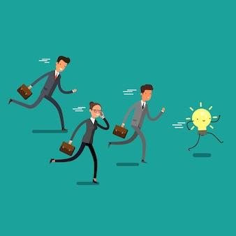 勝利のコンセプト。漫画のビジネスマンが実行し、アイデアをキャッチしようとします。チームリーダーの競争。フラットなデザイン、ベクトルイラスト。