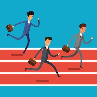 勝利のコンセプト。フィニッシュラインに走っている漫画のビジネスマン。チームリーダーの競争。フラットなデザイン、ベクトルイラスト。