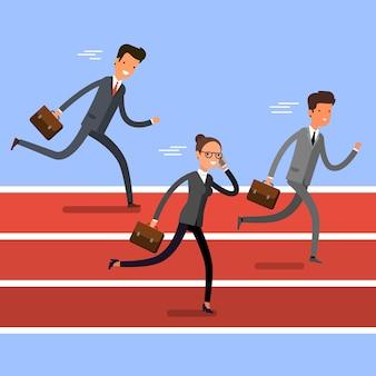 승리의 개념입니다. 결승선을 향해 달리는 만화 사업가들. 팀 리더 경쟁. 평면 디자인, 벡터 일러스트 레이 션입니다.