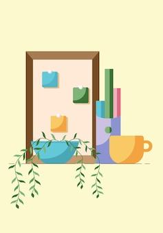노란색 배경에 격리된 식물과 컵이 있는 직장 콜 센터 또는 사무실의 개념