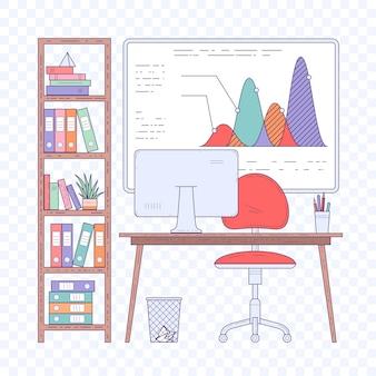 Концепция рабочего места в творческом современном офисе открытого пространства.