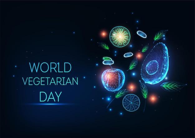 Концепция всемирного вегетарианского дня с абстрактными светящимися фруктами и овощами