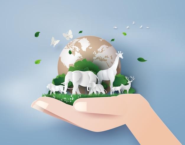 Концепция всемирного дня дикой природы с животным в лесу,