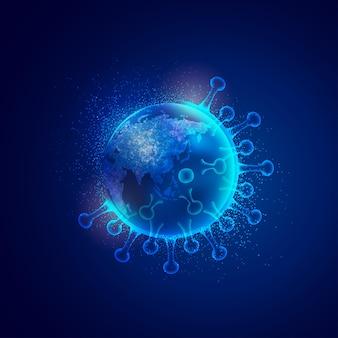 Концепция всемирных инфекций covid-19, изображение земного шара, покрытого вирусом