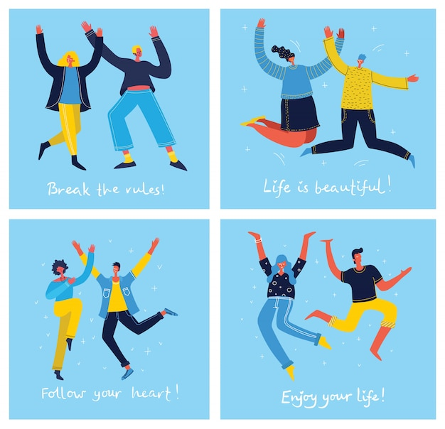青の背景にジャンプする若者の概念。幸せな女性と男性の10代の若者と手描きの引用のスタイリッシュなモダンなイラストカードフラットスタイルであなたの人生を楽しむ