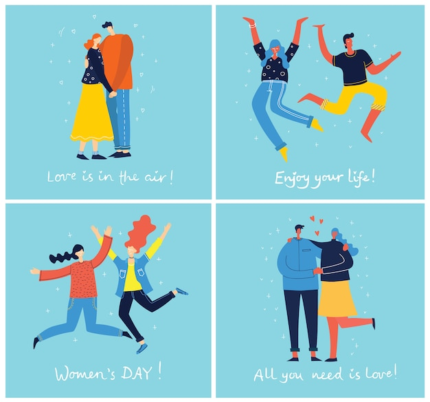 파란색 배경에 점프하는 젊은 사람들의 개념. 행복 한 여성 및 남성 청소년과 세련 된 현대 일러스트 카드