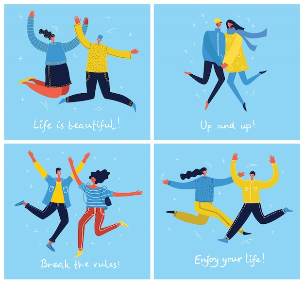 青の背景にジャンプする若者の概念。幸せな男性と女性の10代の若者と手描きの引用でスタイリッシュなモダンなイラストカードあなたの人生をお楽しみください