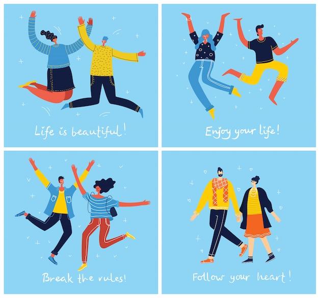 파란색 배경에 점프하는 젊은 사람들의 개념. 행복 남성과 여성 청소년과 손을 그리기 인용 세련 된 현대 일러스트 카드