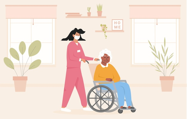 Concept for old age home during pandemic. nurse wearing face mask with elderly black woman in wheelchair. residential care facility at nursing home. african american disabled lady at her room. vector.