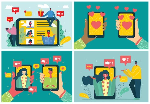 Концепция онлайн-знакомств в плоском дизайне. мужские и женские руки держат мобильные телефоны с абстрактным профилем приложения знакомств на дисплее.