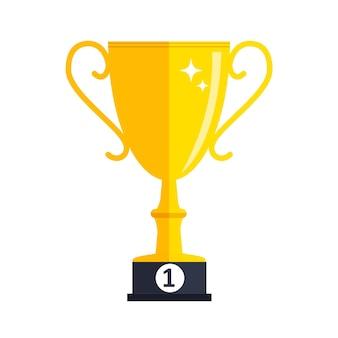 성공에 대한 개념입니다. 골드 트로피 컵 수상 아이콘입니다. 벡터 일러스트 레이 션