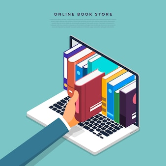 Concept online books store. hand pick book from internet device.  illustrate.