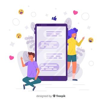 Concept of online dating app