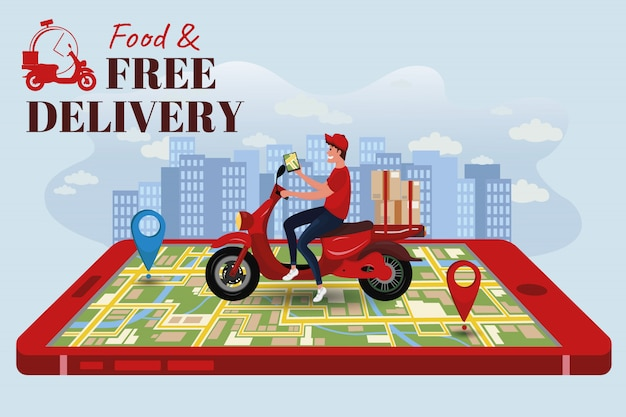 Concept online delivery service, tracking online bike landing page.