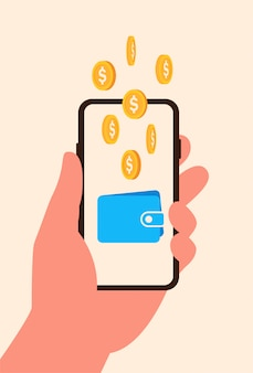 Concept online earning from phone. gold coins fall in online wallet on screen smartphone