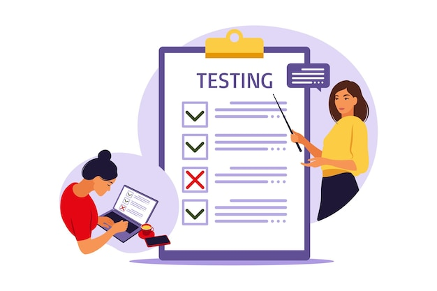 Concept of online exam on internet. woman sitting near online form survey on laptop. questionnaire, web learning, electronic voting. vector illustration.