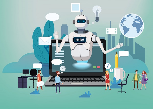 Concept online free chat bot, robot virtual assistance
