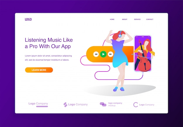 Concept of online music player application for website, landing page