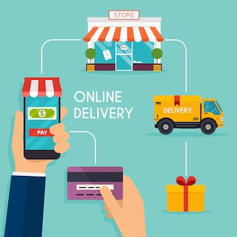 Concept online shopping and e-commerce. icons for mobile marketing.