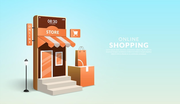 Concept of online shopping on website and mobile application 3d smartphone in form of mini shop