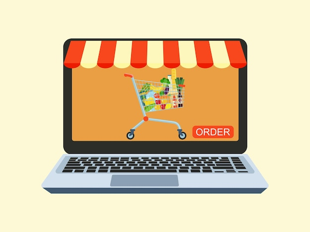 Concept for an online store and online food ordering service. computer and shopping cart. vector illustration.