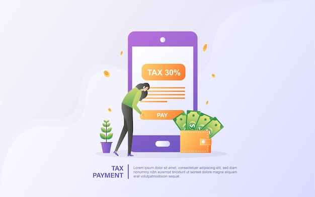 Concept of online tax. filling tax form. business concept.