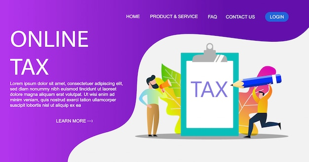 Concept of online tax payment illustration, people filling tax form, can use for, landing page, template, ui, poster.