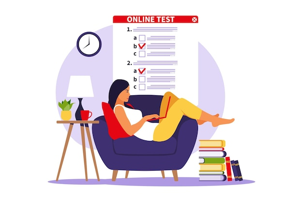 Concept online testing, e-learning, examination on computer. vector illustration. flat
