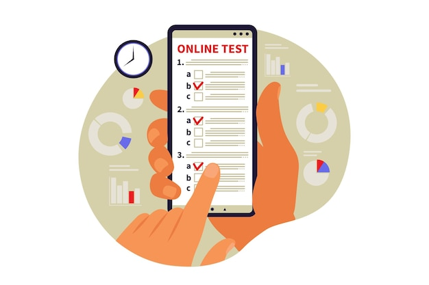 Concept online testing, e-learning, examination on phone. vector illustration. flat