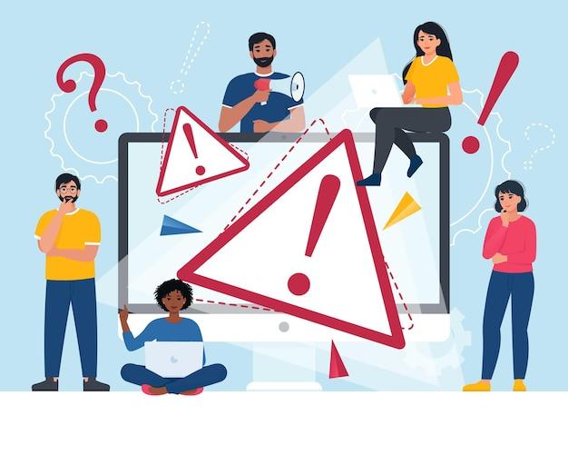 Концепция предупреждения об ошибке операционной системы 404 ошибка веб-страницы векторные иллюстрации плоский
