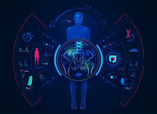 Concept of orthopaedic analysis technology, graphic of female with pelvis and body scan