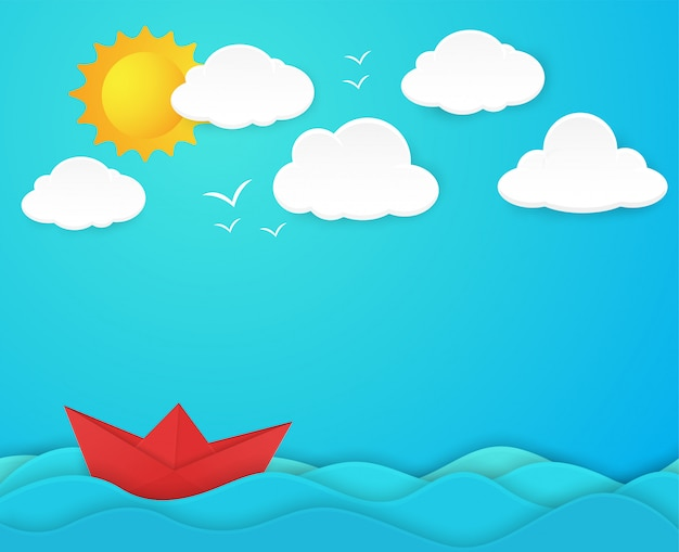 Concept of paper boats that groove in the vast ocean paper art style