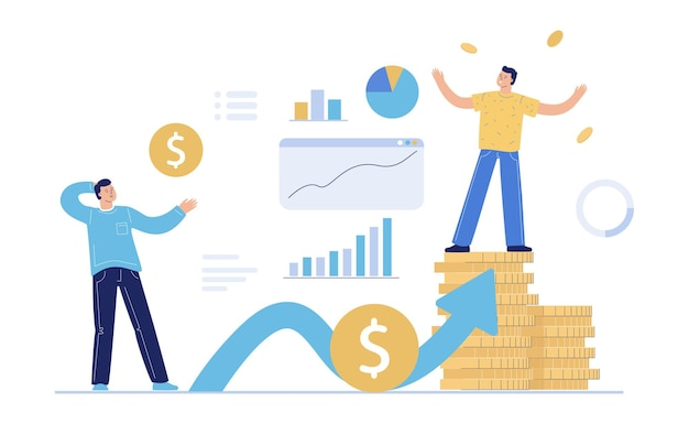 The concept of passive growing income. the character looks at a man standing on a stack of coins and showing off his capital. a symbol of profit and enrichment.