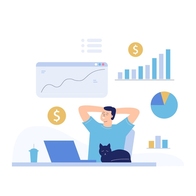 The concept of passive income. a man is dozing near a laptop, around him are growing graphs and coins are falling out.